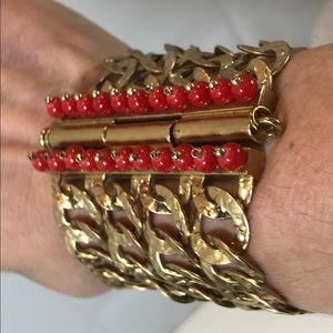 Juicy Couture Chunky Chain Red Bead Bracelet